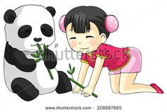 Cute cartoon Chinese girl in cheongsam fashion dress is playing and feeding her baby pet Panda bear with bamboo leaves, create by vector