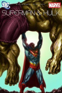 A mockup cover art for a Superman vs Hulk issue (for a Marvel vs DC artjam)