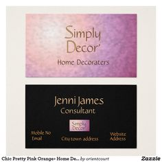 35 best trendy business cards images on pinterest business cards chic pretty pink orange home decor business card colourmoves