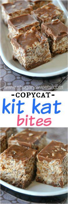 Copycat Kit Kat Bites #dessert #candy #vegetarian