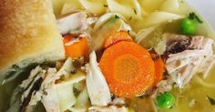 A leftover turkey carcass and some leftover turkey can make a delicious turkey noodle soup!