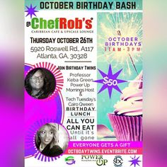 If your birthday is in October you your friends and family should join us 11:00am-3:00pm this Thursday for a Gourmet Caribbean Bizness Lunch We celebrate our birthday this month as well it's and October's Birthday Bash. CLICK ON THE LINK  Tickets cover lunchbeveragedessert and a surprise! You have get your ticket today! http://ift.tt/2x6FWkU YOU DESERVE IT...even if it's not your birthday  just get your tickets and come eat#atlanta #october #birthday #lunch #atl #networking #bday #business…
