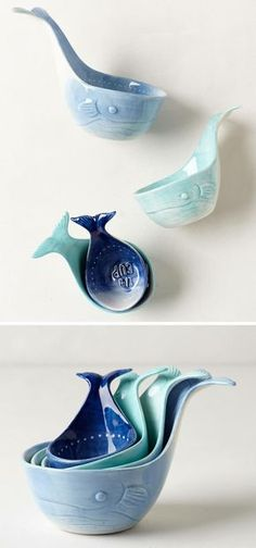 whale measuring cups // cute and functional kitchen decor!