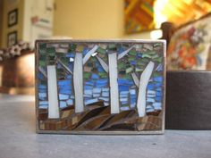 Aspen Trees in Autumn Mosaic Belt Buckle by piecesofmemosaic, $70.00