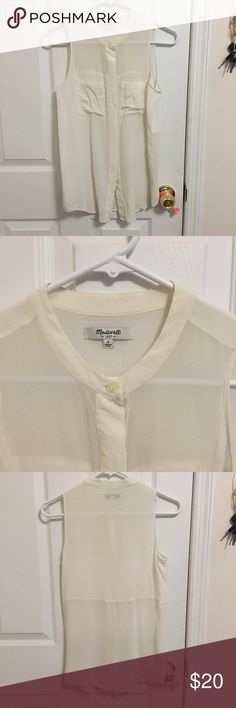 Madewell Sleeveless Silk Button Down Top Cream color, slight discoloration. No rips. Madewell Tops