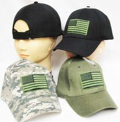 Tactical U.S. Flag - Item cap610a - Baseball Style  Choice of color: Black Green Camo 100% Cotton  Fits Most Adults