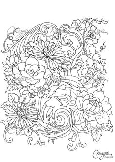 Masja's Flowers coloring page #1_ https://www.etsy.com/listing/166925507/masjas-flowers-coloring-page-1?ref=related-6