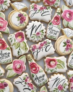 Which cookie is your favourite - the flowers, rings, or bubbly? Rose Cookies, Crazy Cookies, Fancy Cookies, Flower Cookies, Iced Cookies, Sugar Cookies, Cookie Bouquet, Paint Cookies, Fondant Cookies