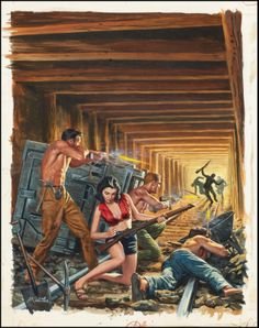 """Fight for the Mine Shaft."" Cover for Male magazine, January 1963. by mort kunstler notice the woman in the middle with the lee enfield rifle and her combat ready outfit."