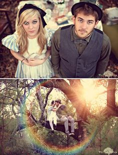 Incredibly beautiful and whimsical Alice in Wonderland Engagement Shoot by Three Nails Photography.