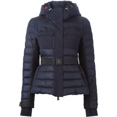 Moncler Grenoble padded hooded jacket (£960) ❤ liked on Polyvore featuring outerwear, jackets, blue, navy blue jacket, moncler grenoble, padded jacket, blue jackets and hooded jacket