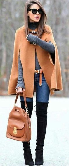 Take a look at 15 ways to wear a cape outfit in the photos below and get ideas for your own beautiful fall outfits! cape // Fashion Look by Nada Adelle Image source Fashion 2017, Look Fashion, Womens Fashion, Fashion Check, Street Fashion, Trendy Fashion, Feminine Fashion, Ladies Fashion, Daily Fashion