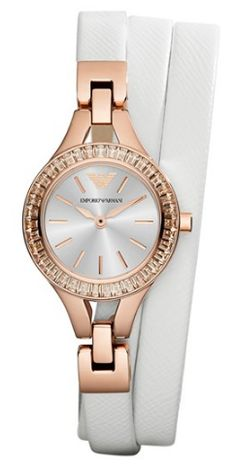 Rose gold + leather wrap watch.