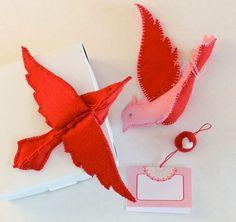 Love Birds - Handmade - Red and Pink Felt Birds. $48.00, via Etsy.