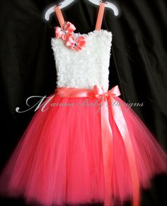Flower Girl Tutu Dress / Coral Tutu Dress / por ManaiaBabyDesigns