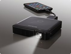 HDMI pocket projector. Projects up to 1080p HD images up to 60″ diagonal. Rechargeable and portable.