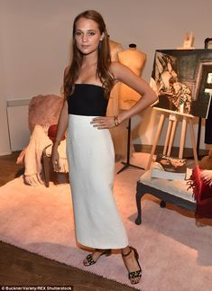 Effortlessly chic: Alicia Vikander ensured all eyes were on her on Sunday at the Variety dinner party in Toronto