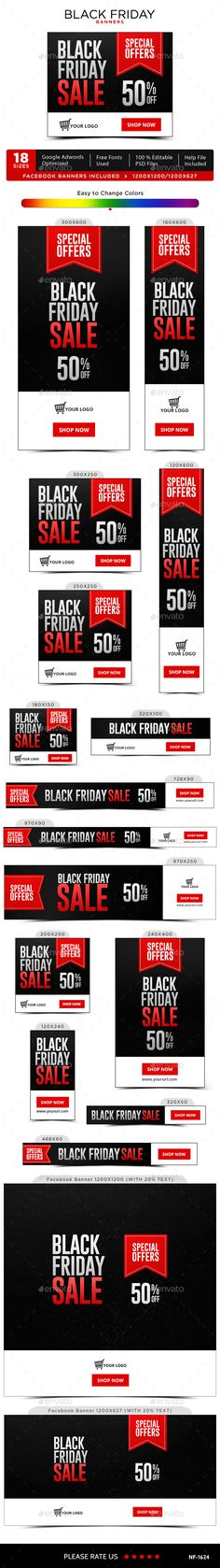 Black Friday Banners - #Banners & #Ads #Web Elements Download here: https://graphicriver.net/item/black-friday-banners/18777761?ref=alena994