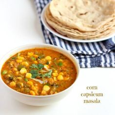 corn capsicum masala recipe: a delicious restaurant style sweet corn kernel & capsicum curry in onion & tomato gravy. Perfect side dish for roti, naan or pulav. Corn Recipes, Indian Food Recipes, Vegetarian Recipes, Cooking Recipes, Recipies, Vegetarian Cooking, Yummy Recipes, Punjabi Cuisine, Punjabi Food