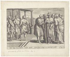 Ambrosius Francken (I)   Rechabeam raadpleegt de oudsten en de jongemannen, Ambrosius Francken (I), Gerard de Jode, 1579   Koning Rechabeam raadpleegt de oudsten die zijn vader Salomo nog hadden bijgestaan, nadat de Israëlieten hem hebben gevraagd hun juk te verlichten. De oudsten raden hem aan om het volk welwillend te zijn, maar Rechabeam negeert hun advies. Links op de achtergrond raadpleegt hij vervolgens de jongemannen met wie hij is opgegroeid. Zij raden hem aan om het verzoek van het…