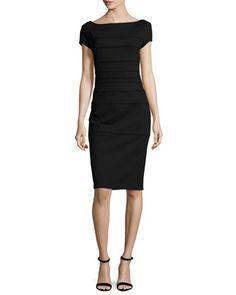 Striped+Scuba+Cap-Sleeve+Dress,+Black+by+Escada+at+Neiman+Marcus.