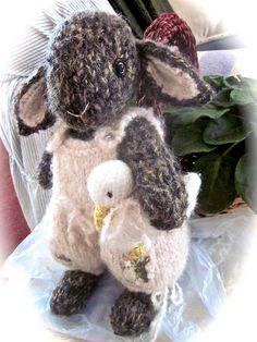 Lily and Petunia- hand knit bunny & duck dolls