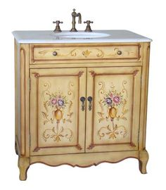 """Dimensions: 32.5 x 20.25 x 34.5""""H approx. The beautiful Hand painted Camarin bathroom sink vanity decorated with hand painted floral design. It pays attention to all small details to the finest. Quiet"""