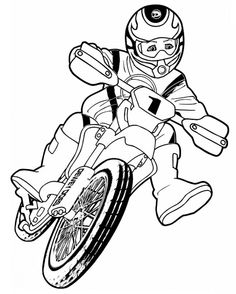 Boy Riding A Dirt Bike For Motorcross Coloring Page
