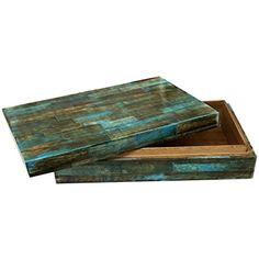 Verdigris Covered Keepsake Decorative Storage Organizer Box Bone Jewelry Boxes