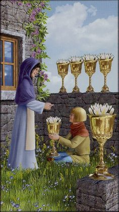 The five of cups is loss and grief, here a man gives a woman a sixth cup to overcome and love again.