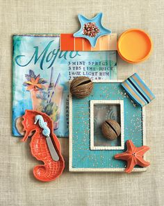 On the Beach - Burlap fabric for texture, sea blues and marine life-inspired accessories—life could be a beach holiday