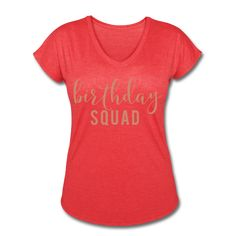 PINK GLITZ PRINT! Birthday Squad, Birthday Women's V-Neck Tri-Blend T-Shirt