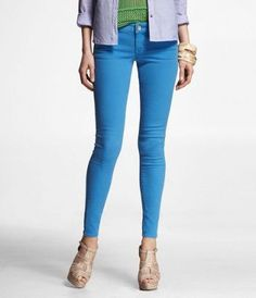 STELLA COLORED JEAN LEGGING-TROPIC BLUE  (Outfit Number 5)  #ExpressJeans