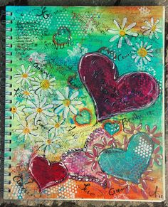 https://flic.kr/p/9NdAum | Art journal Cover | made with shiva art painstick... love the creamy look