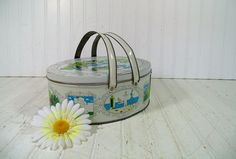 Large Antique Lithograph Tin Sewing / Lunch Basket by DivineOrders, $27.00