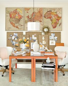 We love the way Suzanne Kasler used her favorite Mandarin color palette to bring personality to this two person office space.
