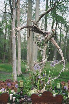 Instalação Driftwood | Bit of Photography Marfim & Palette de Pétalas | ver mais em: http://burnettsboards.com/2014/05/disneys-maleficent-inspired-wedding/ #driftwood