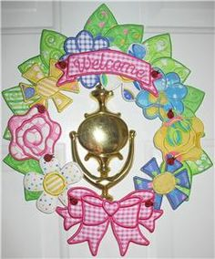 Build-a-Springtime-Wreath by PJ Designs. In the hoop machine embroidery project.