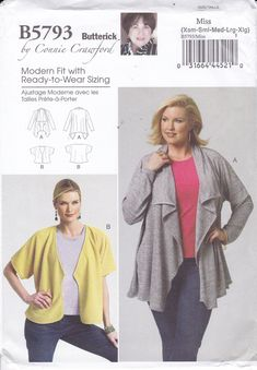 2c1b153c8238f FREE US SHIP Butterick 5793 Sewing Pattern Women s Designer Connie Crawford  Jacket Waterfall Loose Fitting Size xs-xl Bust 34 36 38 40 41 ff. Plus ...