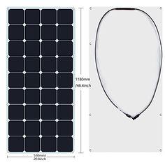 KINGSOLAR™ 120W Sunpower Semi Flexible Solar Panel Bendable Solar Panel for Boat,Yacht,Roof Power Generation,Motorhome,Caravan,Campervan,RV,Lorry,Trailer,Off-grid Solar Power System and more(Black)