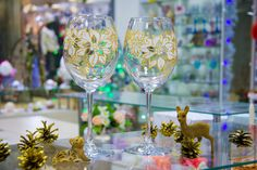 """Купить Новогодние бокалы """"Пуансеттия золотая"""" - золотой, Бокалы, бокалы для вина, Праздник, новый год 2017"""