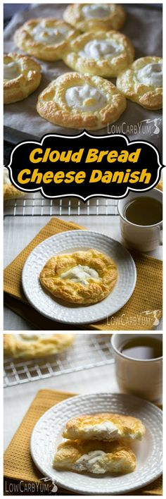 An egg fast friendly cloud bread cheese danish recipe that's super low in total carbs. It's a nice low carb treat to enjoy any time of day. And this keto-friendly cloud bread is much healthier than the real thing. Fast Low Carb, Keto Egg Fast, Low Carb Keto, Low Carb Sweets, Low Carb Desserts, Low Carb Recipes, Dessert Recipes, Recipes Dinner, Pizza Recipes