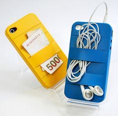 An iPhone case with elastic bands on the back to hold stuff! Perfect to bring a credit card.  Or lip gloss.  Or a house key.brilliant!
