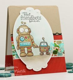 Fun friendship card using the mini set Friendbots by There She Goes Clear Stamps