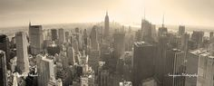 New York City skyline black and...