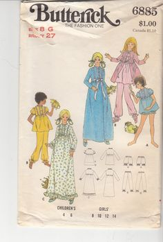 Vintage 70s Sewing Pattern Childs ROBE NIGHTGOWN by HoneymoonBus, $8.99