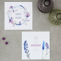 Lavendel | Save the Date - Postkarte quadratisch