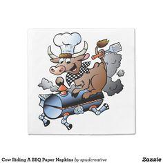 Cow Riding A BBQ Paper Napkins