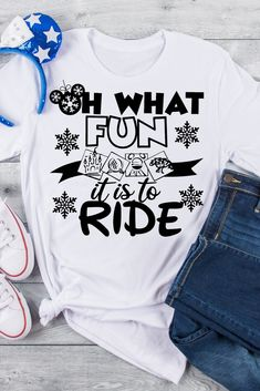 """Oh What Fun it is to Ride is the perfect tee for a Disney Holiday Vacation. This also makes a great gift for """"Disney Ride Loving"""" family and friends. Teen Christmas Gifts, Christmas Shirts, Holiday, Cozy Christmas, Casual Summer Outfits For Teens, Casual Outfits, Winter Outfits, Gifts For Teens, Teen Gifts"""