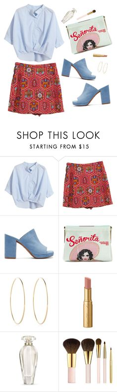 """""""Untitled #287"""" by reginasiena ❤ liked on Polyvore featuring Chicnova Fashion, Retrò, Robert Clergerie, Charlotte Olympia, Maria Francesca Pepe, Too Faced Cosmetics, Victoria's Secret, AERIN, simple and red"""